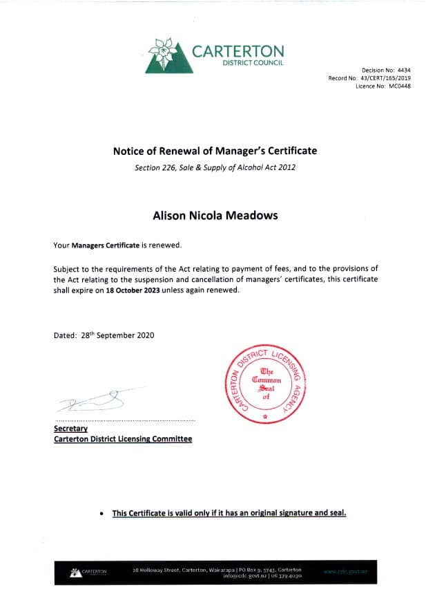 Manager's Certificate